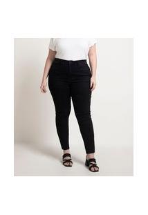 Calça Skinny Jeans Com Tachas Nos Bolsos Curve & Plus Size | Ashua Curve E Plus Size | Preto | 50