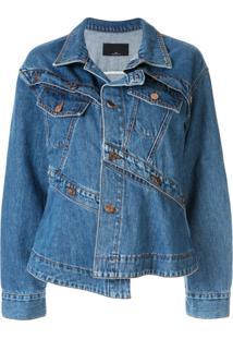 J Koo Jaqueta Jeans Assimétrica - Azul