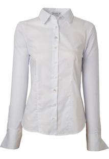 Camisa Dudalina Manga Longa Costas Malha Feminina (Branco, 38)