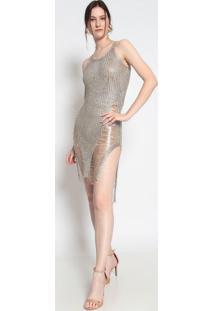 Vestido Longo Com Fio Metalizado- Dourado- Le Fixle Fix