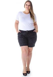 Short Plus Size - Confidencial Extra De Sarja Estampado Com Elastano Preto