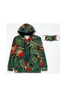 Jaqueta Estampada Com Bolsos E Capuz Em Moletom Comfy | Blue Steel | Verde | Pp