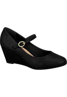 Sapato Anabela Texturizado - Preto - Salto: 6Cm Beira Rio