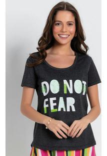 Blusa T-Shirt Com Barra Mullet Mescla Preta