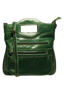 Bolsa Pequena Transversal De Couro - Ref.43 Verde