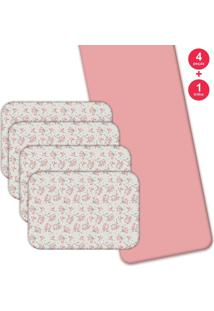 Jogo Americano Love Decor Com Caminho De Mesa Beautiful Flowers Kit Com 4 Pçs 1 Trilho Rosa