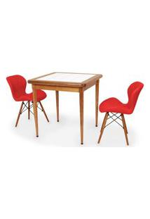 Conjunto Mesa De Jantar Em Madeira Imbuia Com Azulejo + 2 Cadeiras Slim - Vermelho