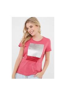 Camiseta Enfim Paetê Com Vira Rosa