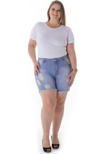 Shorts Jeans Plus Size Com Elastano Feminino - Feminino-Azul