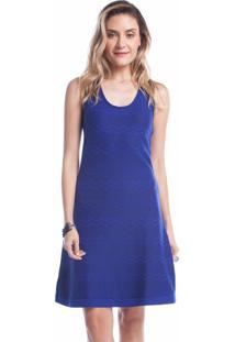 Vestido Curto Ralm Zig Zag Azul