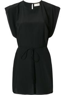 Saint Laurent Vestido De Seda - Preto