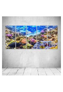 Quadro Decorativo - Underwater World Corals Fish Animals - Composto De 5 Quadros