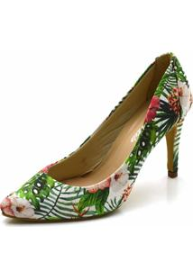 Scarpin Flor Da Pele Floral - Verde - Feminino - Dafiti