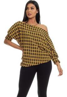 Blusa Clara Arruda Tricot Oversized 20657 Feminina - Feminino-Amarelo+Preto