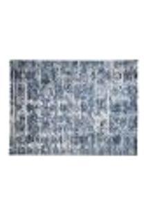 Tapete Quarto Sala Retangular Decoração Flor Azul 100X150Cm
