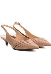 Scarpin Shoestock Salto Baixo Fivela - Feminino-Nude