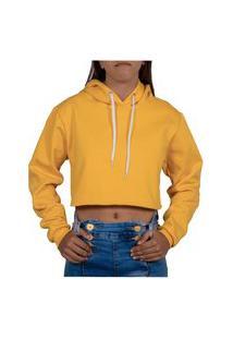 Shimavi Cropped Moletom Feminino Blusa De Frio Amarelo