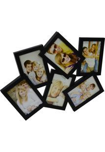 Porta Retrato Minas De Presentes 6 Fotos 10X15Cm Preto