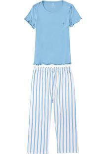Pijama Azul Claro Pantacourt