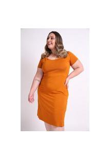 Vestido Liso Plus Size Caramelo Vestido Liso Plus Size Caramelo M Kaue Plus Size