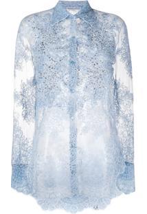 Ermanno Scervino Blusa Translúcida Com Padronagem De Renda - Azul