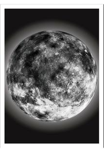 Quadro Decorativo Com Moldura The Moon Preto E Branco (33X24)