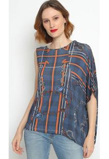 Blusa Assimétrica Com Recorte - Azul Laranja- Foruforum