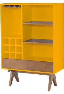Cristaleira Massimo Laqueada Em Amarelo Fosco Com Laminado Cor Nogal 91 Cm (Larg) - 46286 Sun House