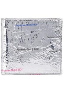 Alexander Mcqueen Carteira De Couro Com Estampa De Logo - Prateado
