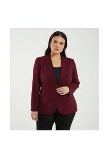 Blazer Liso Com Botão Curve & Plus Size | Ashua Curve E Plus Size | Vermelho | 52