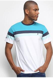 Camiseta Aleatory Listras Logo Fio Tinto Masculina - Masculino-Verde+Azul