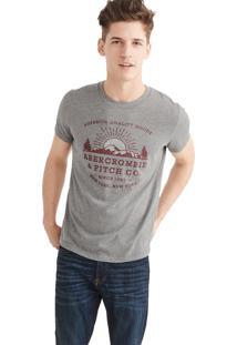 Camiseta Manga Curta Abercrombie Gráfica Cinza