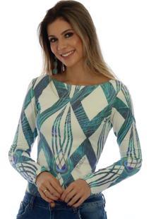 Blusa Ficalinda Estampa Geométrica Azul Com Penas De Pavão
