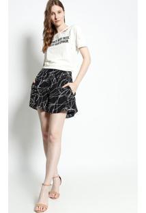 Camiseta Com Inscrição & Recortes Vazados - Off White & Canal