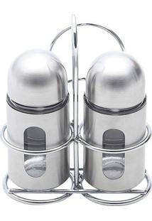 Conjunto 3 Peças Saleiro E Pimenteiro De Aço Inox E Vidro Round-Bon Gourmet - Transparente