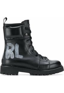 Karl Lagerfeld Bota Kadet Ii Com Amarração - Preto
