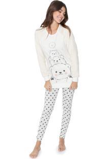 Pijama Cor Com Amor Ursos Off-White