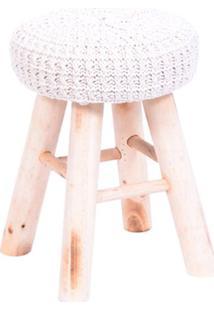 Puff Glamour- Branco & Bege Claro- 40Xø28Cm- Or Or Design