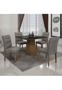 Conjunto De Mesa Com 4 Cadeiras Itália Ii Ypê E Cinza