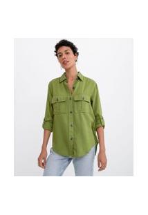 Camisa Manga Longa Lisa Com Botões Tartaruga E Bolsos   Marfinno   Verde   M