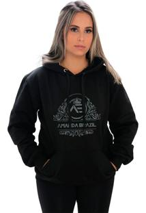 Blusa Moletom Amanda Brazil Flores Preto - Kanui