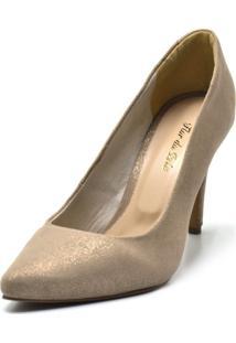Sapato Scarpin Salto Alto Fino Em Areia Cintilante