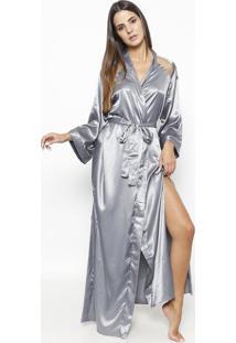 Robe Longo Acetinado Com Tule- Cinzafruit De La Passion