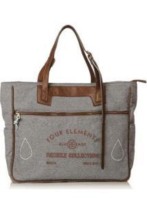 Bolsa Blue Bags Tote Reciclada Bordado Ar Feminina - Feminino-Cinza