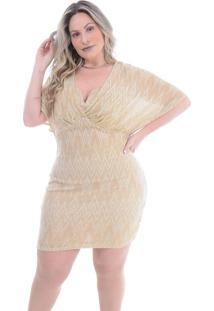 Vestido Plus Size Harmonia: Dourado: 46