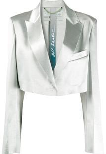 Off-White Blazer Cropped Com Abotoamento Simples - Verde
