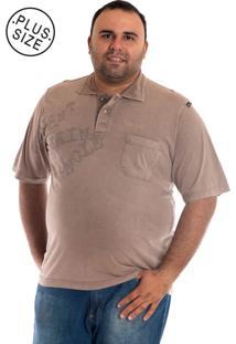 Camisa Polo Konciny Manga Curta Marrom Claro