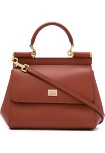 Dolce & Gabbana Sicily Leather Handbag - Marrom