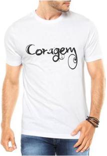 Camiseta Criativa Urbana Coragem Masculina - Masculino-Branco