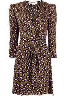 Dvf Diane Von Furstenberg Vestido Envelope Charlene Com Estampa De Leopardo - Marrom